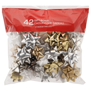 42 Pack Deluxe Christmas Gift Bows, Assorted Colours