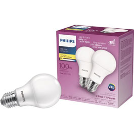 2 Pack 15W A19 Medium Base Soft White Non-Dimmable LED Light Bulbs