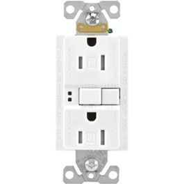 15 Amp White Self Test Tamper Resistant GFI Receptacle with Plate