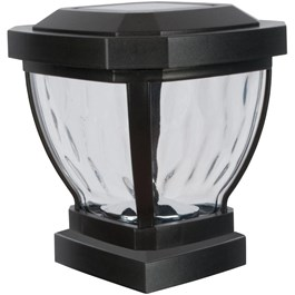"4"" x 4"" Black Solar Fence Post Cap, with Water Glass Lens"
